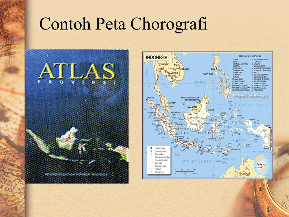 Peta chorografi •Peta chorografi menggambarkan daerah yang luas, misalnya propinsi, negara, benua bahkan dunia. •Dalam peta chorografi digambarkan sem