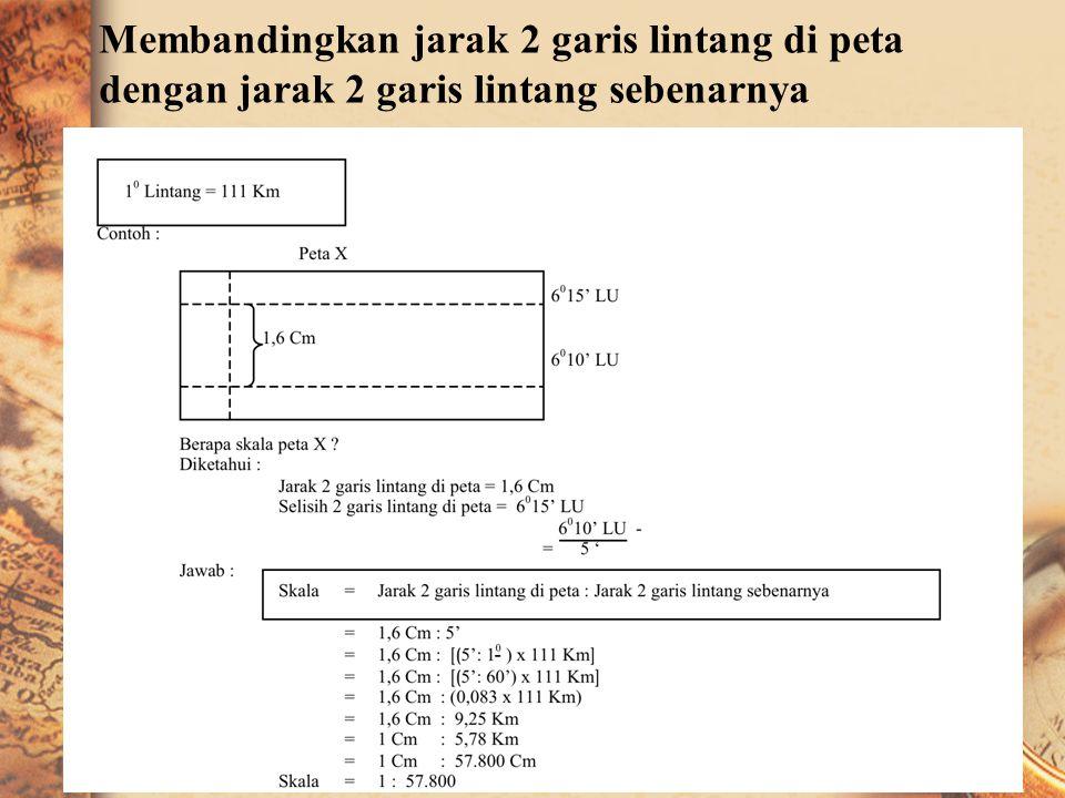 Membandingkan jarak di peta dengan jarak sebenarnya Contoh : Jarak A → B pada peta X = 2 Cm Jarak A → B sebenarnya = 3 Km Berapa skala peta X ? Jawab