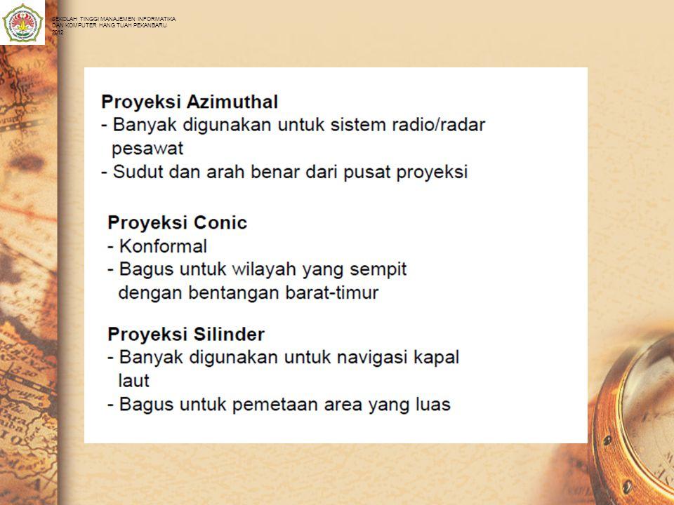 Sistem Proyeksi (2) • Macam2 Sistem Proyeksi: SEKOLAH TINGGI MANAJEMEN INFORMATIKA DAN KOMPUTER HANG TUAH PEKANBARU 2012