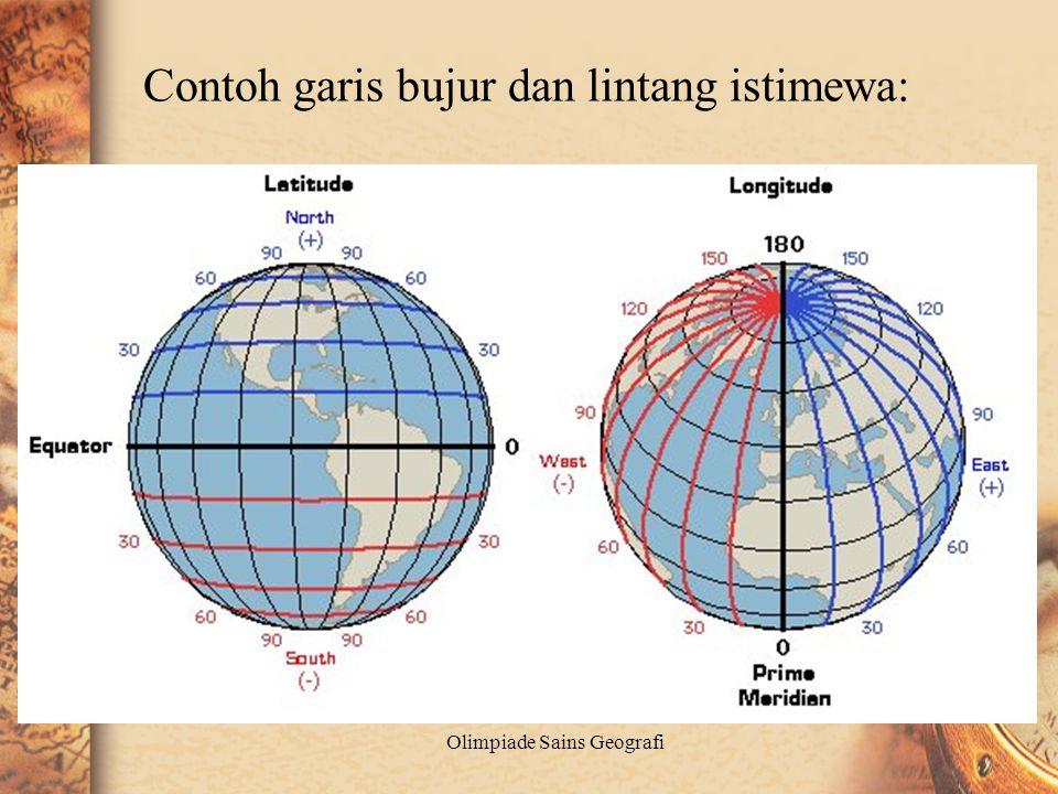 Garis bujur istemewa di permukaan bumi : •Garis 00 bujur (Grenwich), garis ini istimewa karena digunakan sebagai standar waktu internasional (GMT) •Ga