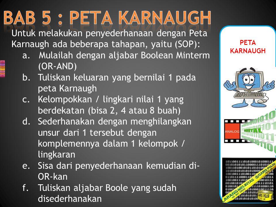 PETA KARNAUGH Sebagai contoh: dengan menggunakan Peta Karnaugh, sederhanakan rangkaian logika (SOP) Berikut ini : Y = A.B + A.B + A.B