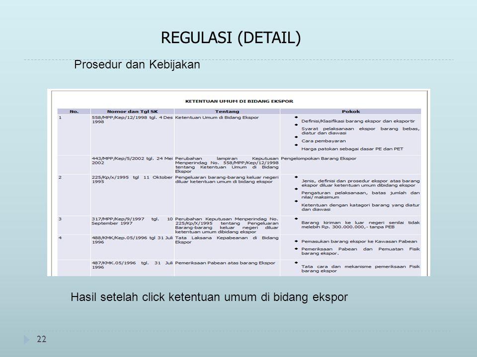 22 REGULASI (DETAIL) Prosedur dan Kebijakan Hasil setelah click ketentuan umum di bidang ekspor