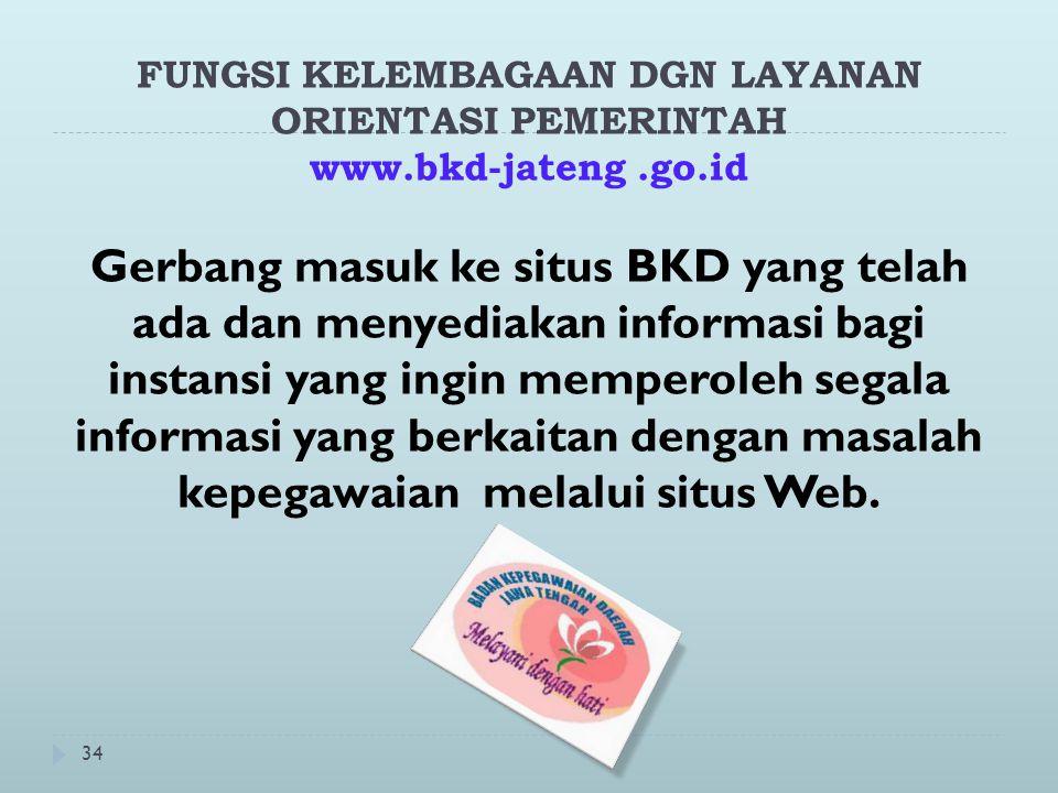 34 FUNGSI KELEMBAGAAN DGN LAYANAN ORIENTASI PEMERINTAH www.bkd-jateng.go.id Gerbang masuk ke situs BKD yang telah ada dan menyediakan informasi bagi instansi yang ingin memperoleh segala informasi yang berkaitan dengan masalah kepegawaian melalui situs Web.