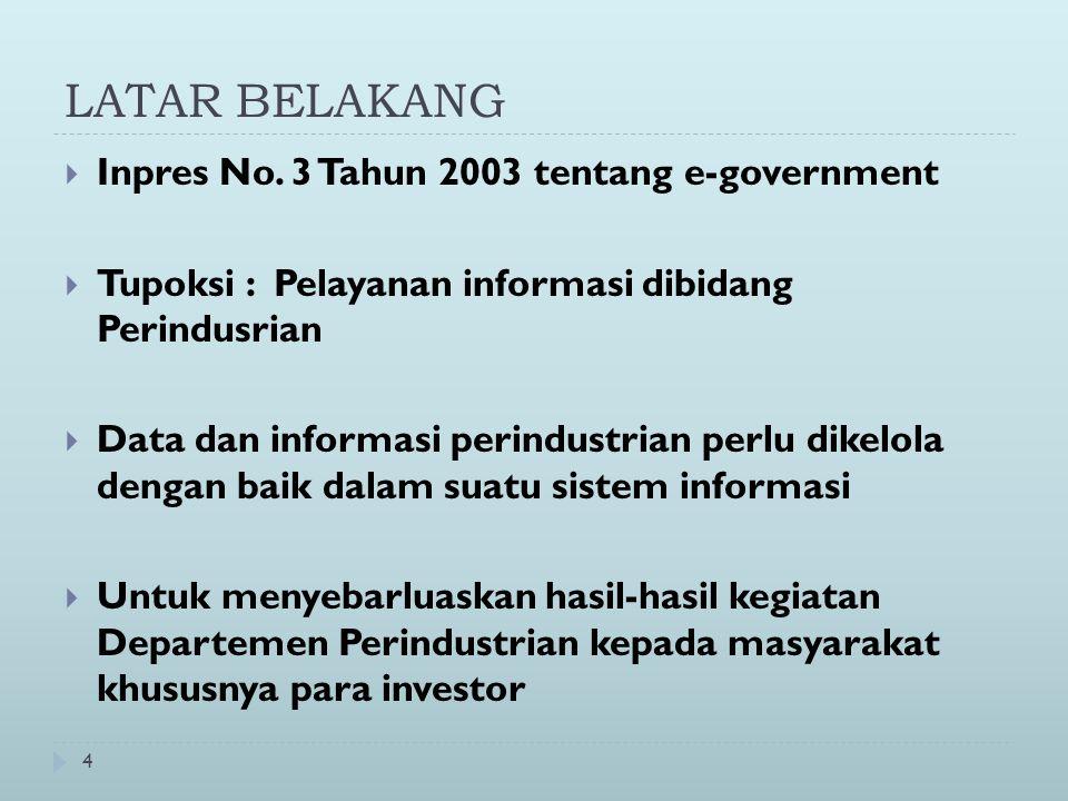 4 LATAR BELAKANG  Inpres No. 3 Tahun 2003 tentang e-government  Tupoksi : Pelayanan informasi dibidang Perindusrian  Data dan informasi perindustri