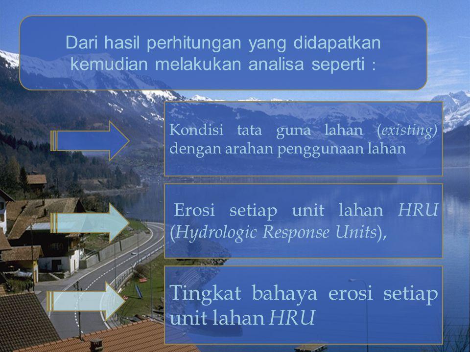Dari hasil perhitungan yang didapatkan kemudian melakukan analisa seperti : Kondisi tata guna lahan ( existing) dengan arahan penggunaan lahan Erosi s