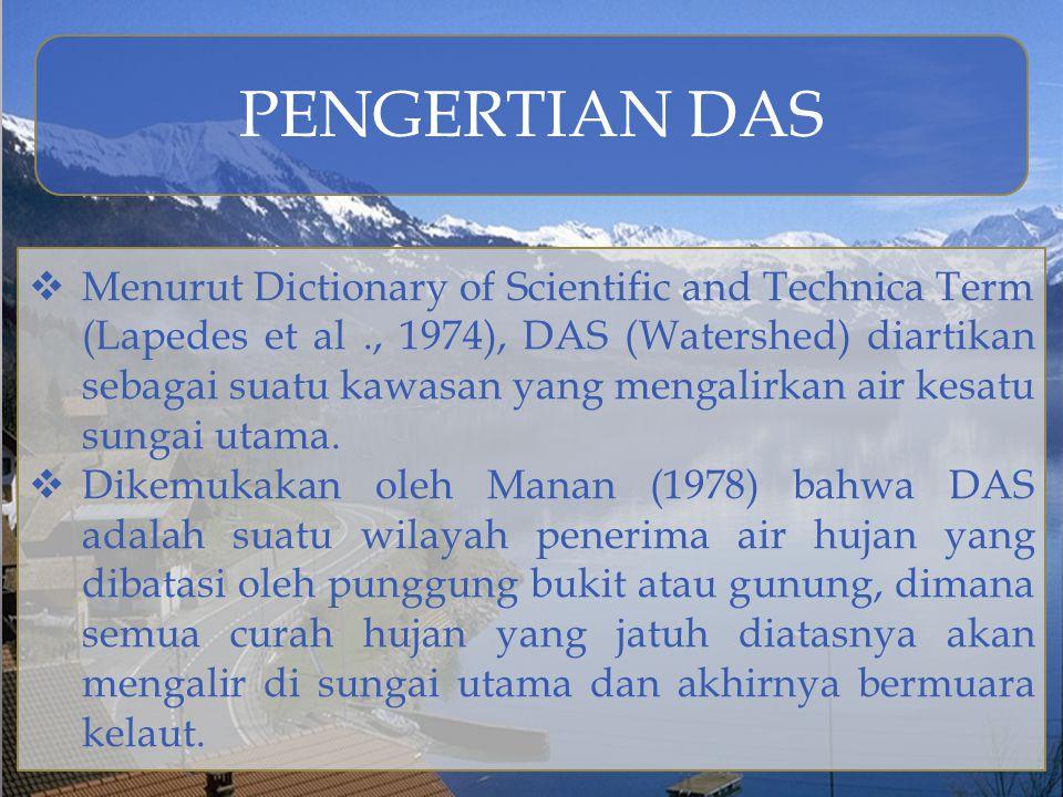 PENGERTIAN DAS  Menurut Dictionary of Scientific and Technica Term (Lapedes et al., 1974), DAS (Watershed) diartikan sebagai suatu kawasan yang menga