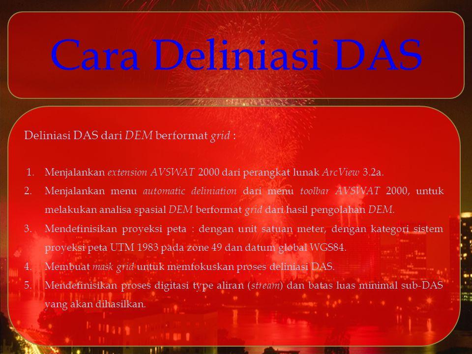 Cara Deliniasi DAS Deliniasi DAS dari DEM berformat grid : 1. Menjalankan extension AVSWAT 2000 dari perangkat lunak ArcView 3.2a. 2.Menjalankan menu