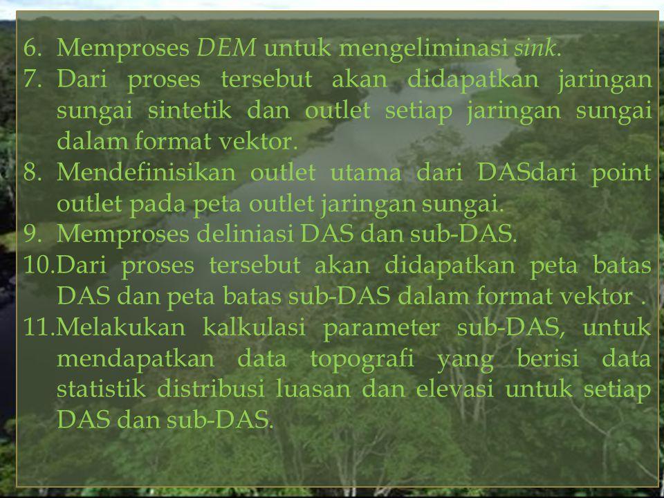 6.Memproses DEM untuk mengeliminasi sink. 7.Dari proses tersebut akan didapatkan jaringan sungai sintetik dan outlet setiap jaringan sungai dalam form