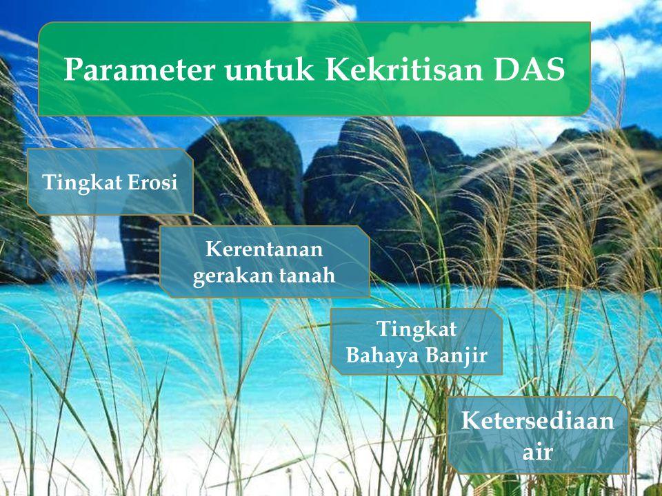 Parameter untuk Kekritisan DAS Tingkat Erosi Tingkat Bahaya Banjir Kerentanan gerakan tanah Ketersediaan air