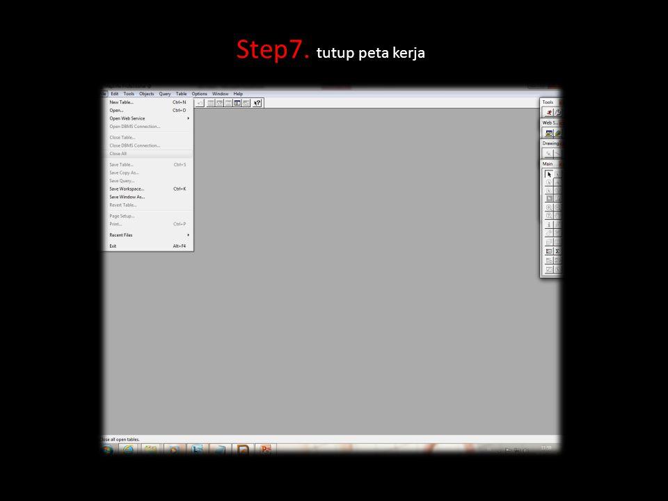 Step7. tutup peta kerja