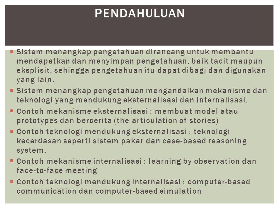  Sistem menangkap pengetahuan dirancang untuk membantu mendapatkan dan menyimpan pengetahuan, baik tacit maupun eksplisit, sehingga pengetahuan itu d
