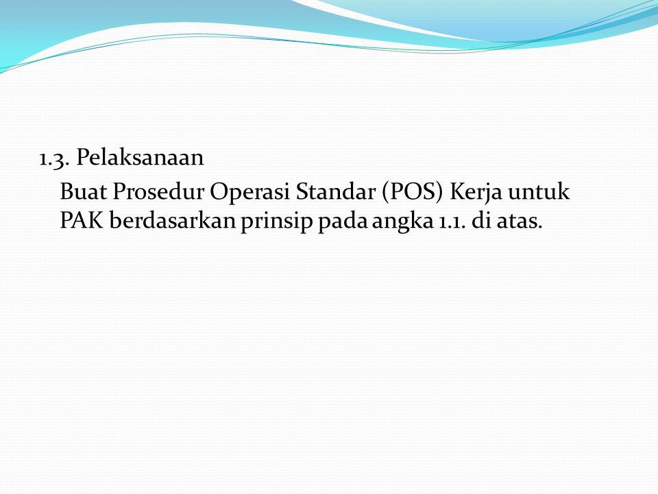 1.3. Pelaksanaan Buat Prosedur Operasi Standar (POS) Kerja untuk PAK berdasarkan prinsip pada angka 1.1. di atas.