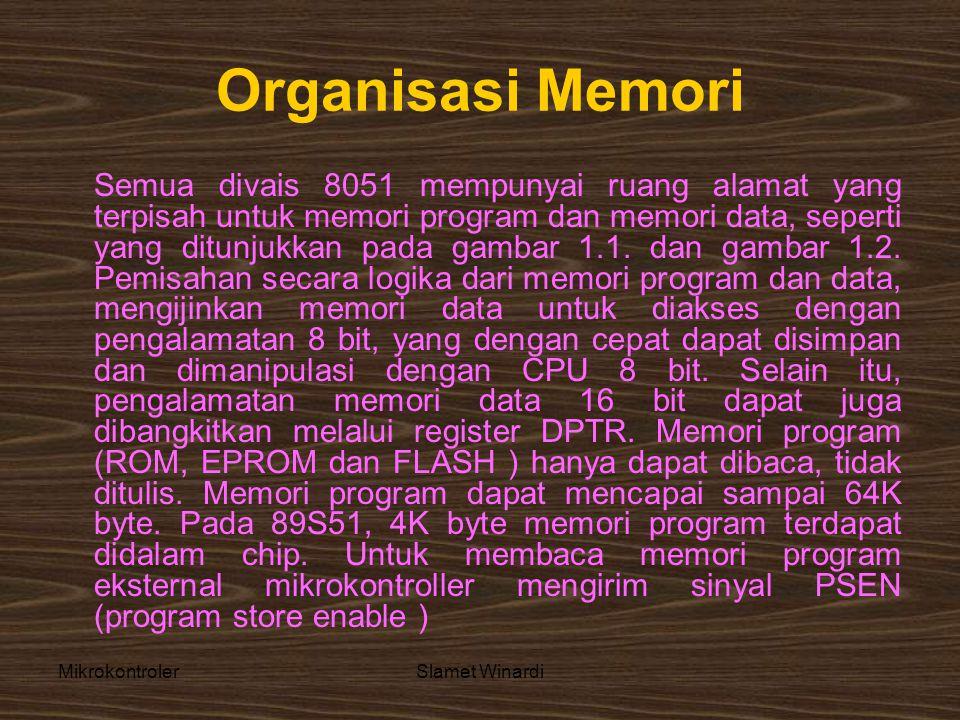 MikrokontrolerSlamet Winardi Organisasi Memori Semua divais 8051 mempunyai ruang alamat yang terpisah untuk memori program dan memori data, seperti yang ditunjukkan pada gambar 1.1.