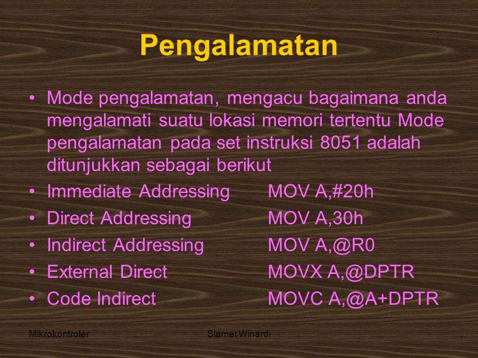 MikrokontrolerSlamet Winardi Pengalamatan •Mode pengalamatan, mengacu bagaimana anda mengalamati suatu lokasi memori tertentu Mode pengalamatan pada set instruksi 8051 adalah ditunjukkan sebagai berikut •Immediate Addressing MOV A,#20h •Direct Addressing MOV A,30h •Indirect Addressing MOV A,@R0 •External Direct MOVX A,@DPTR •Code Indirect MOVC A,@A+DPTR