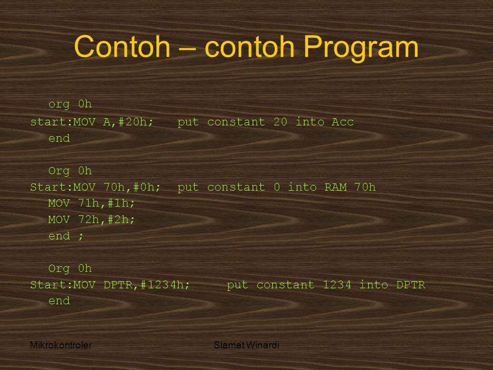 MikrokontrolerSlamet Winardi Contoh – contoh Program org 0h start:MOV A,#20h; put constant 20 into Acc end Org 0h Start:MOV 70h,#0h; put constant 0 into RAM 70h MOV 71h,#1h; MOV 72h,#2h; end ; Org 0h Start:MOV DPTR,#1234h;put constant 1234 into DPTR end