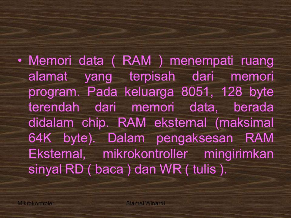 MikrokontrolerSlamet Winardi •Memori data ( RAM ) menempati ruang alamat yang terpisah dari memori program. Pada keluarga 8051, 128 byte terendah dari