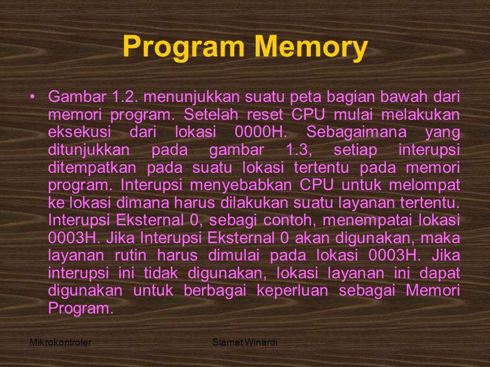MikrokontrolerSlamet Winardi Program Memory •Gambar 1.2. menunjukkan suatu peta bagian bawah dari memori program. Setelah reset CPU mulai melakukan ek