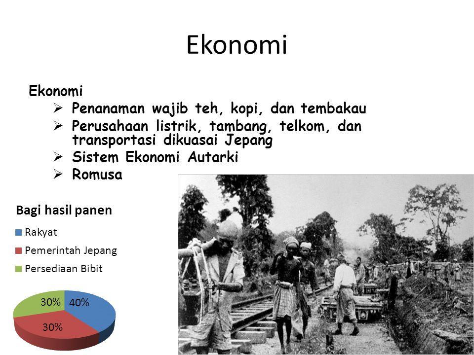 Ekonomi  Penanaman wajib teh, kopi, dan tembakau  Perusahaan listrik, tambang, telkom, dan transportasi dikuasai Jepang  Sistem Ekonomi Autarki  Romusa