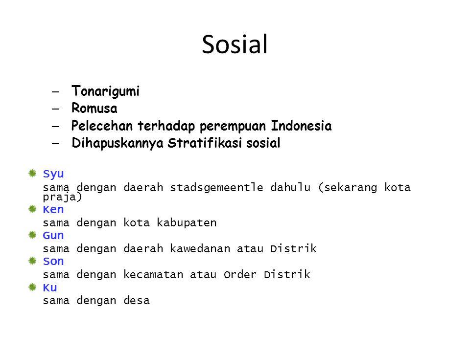 Sosial – Tonarigumi – Romusa – Pelecehan terhadap perempuan Indonesia – Dihapuskannya Stratifikasi sosial Syu sama dengan daerah stadsgemeentle dahulu