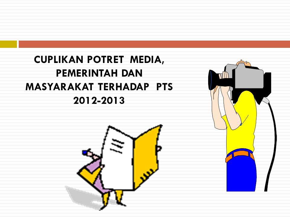 CUPLIKAN POTRET MEDIA, PEMERINTAH DAN MASYARAKAT TERHADAP PTS 2012-2013