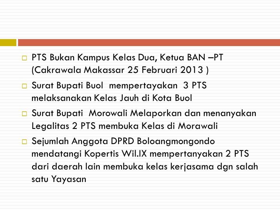  PTS Bukan Kampus Kelas Dua, Ketua BAN –PT (Cakrawala Makassar 25 Februari 2013 )  Surat Bupati Buol mempertayakan 3 PTS melaksanakan Kelas Jauh di