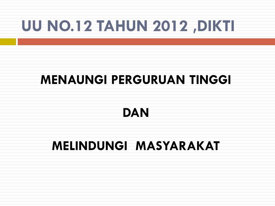 UU NO.12 TAHUN 2012,DIKTI MENAUNGI PERGURUAN TINGGI DAN MELINDUNGI MASYARAKAT