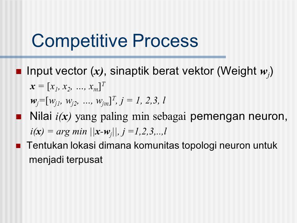 Competitive Process  Input vector ( x), sinaptik berat vektor (Weight w j ) x = [x 1, x 2, …, x m ] T w j =[w j1, w j2, …, w jm ] T, j = 1, 2,3, l 