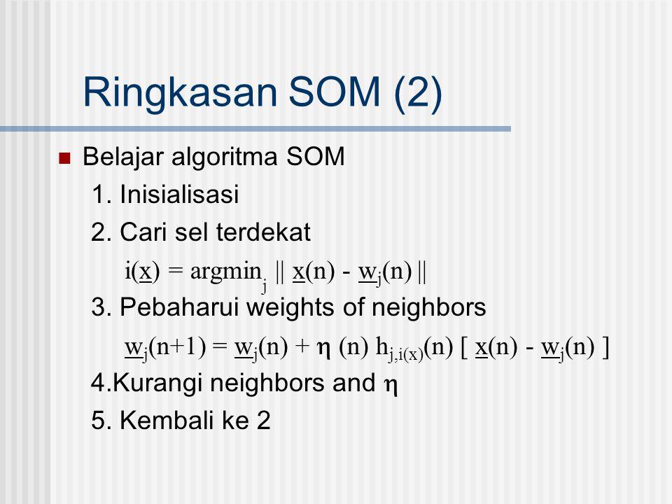 Ringkasan SOM (2)  Belajar algoritma SOM 1. Inisialisasi 2. Cari sel terdekat i(x) = argmin j || x(n) - w j (n) || 3. Pebaharui weights of neighbors