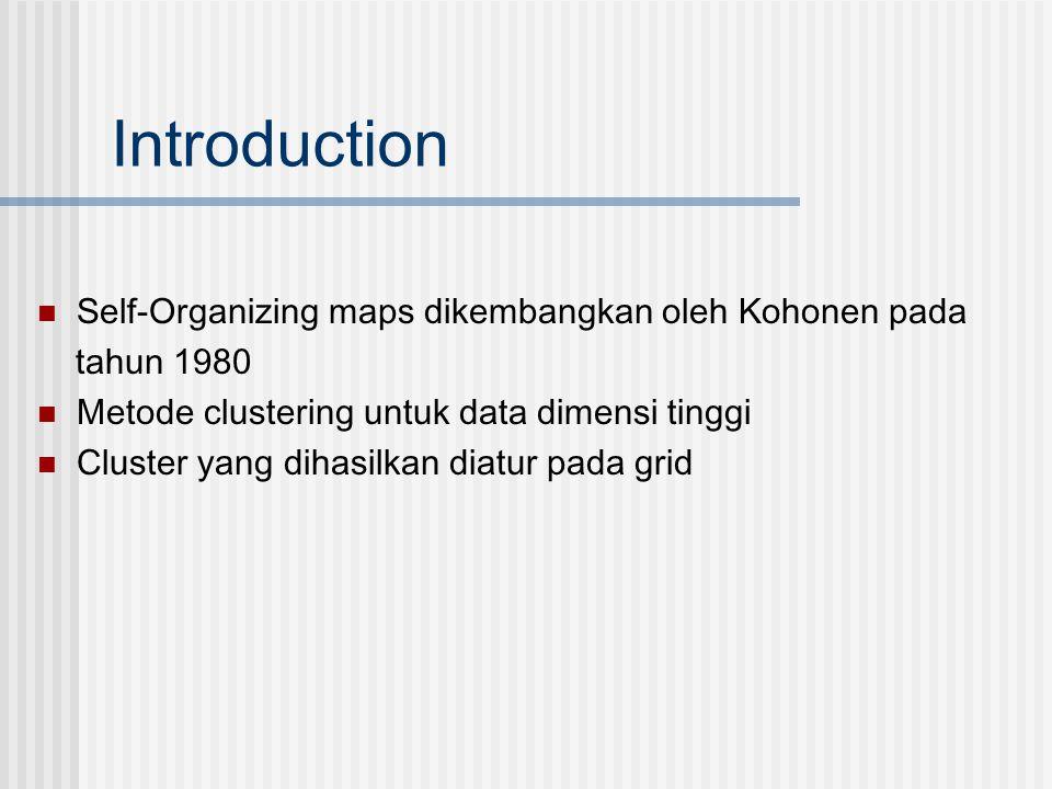 Introduction  Self-Organizing maps dikembangkan oleh Kohonen pada tahun 1980  Metode clustering untuk data dimensi tinggi  Cluster yang dihasilkan
