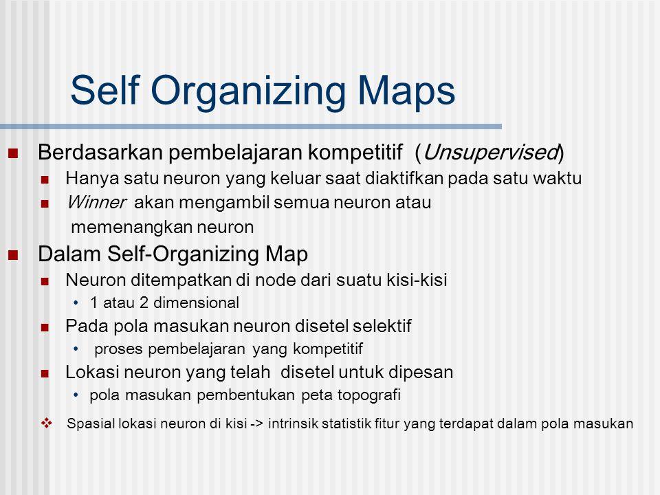 Self Organizing Maps  Berdasarkan pembelajaran kompetitif (Unsupervised)  Hanya satu neuron yang keluar saat diaktifkan pada satu waktu  Winner aka
