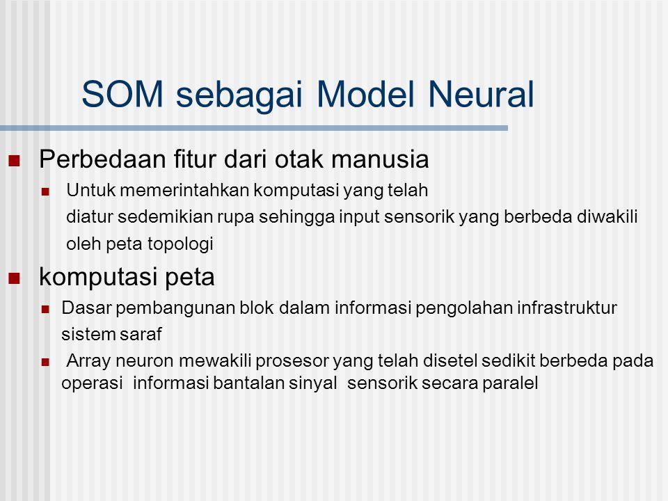 SOM sebagai Model Neural  Perbedaan fitur dari otak manusia  Untuk memerintahkan komputasi yang telah diatur sedemikian rupa sehingga input sensorik