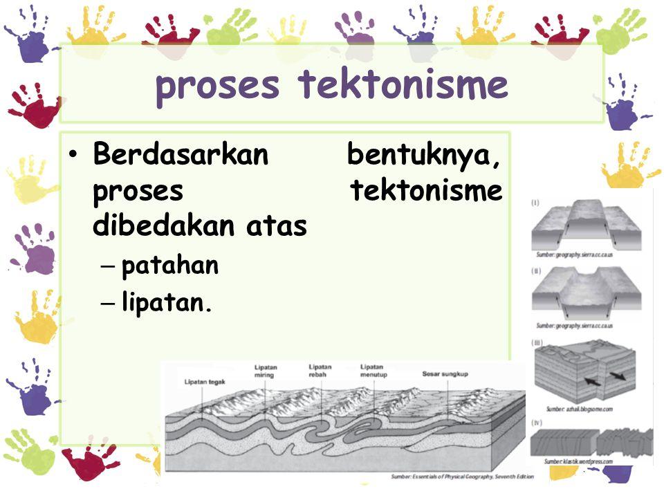 proses tektonisme • Berdasarkan bentuknya, proses tektonisme dibedakan atas – patahan – lipatan.
