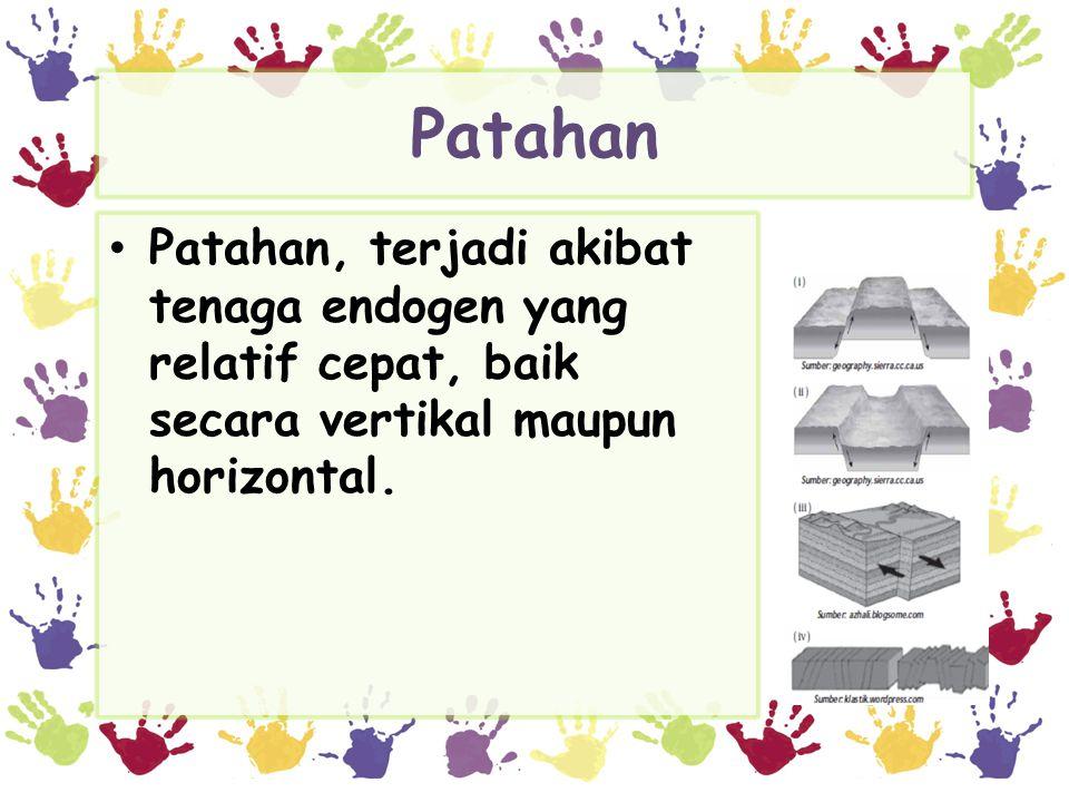 Patahan • Patahan, terjadi akibat tenaga endogen yang relatif cepat, baik secara vertikal maupun horizontal.