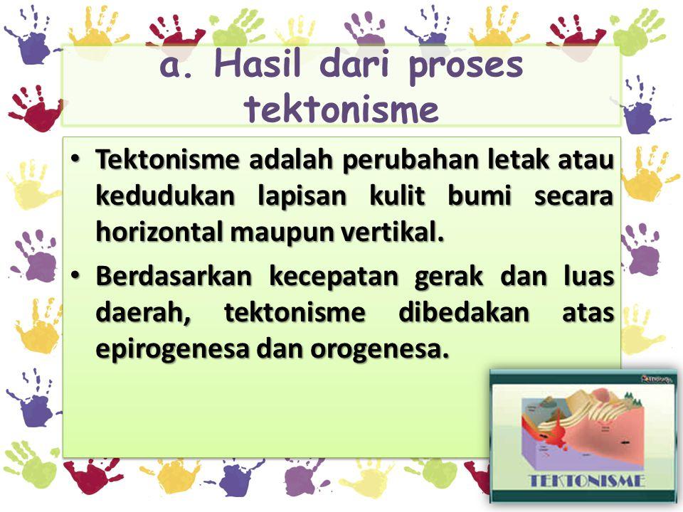 a. Hasil dari proses tektonisme • Tektonisme adalah perubahan letak atau kedudukan lapisan kulit bumi secara horizontal maupun vertikal. • Berdasarkan