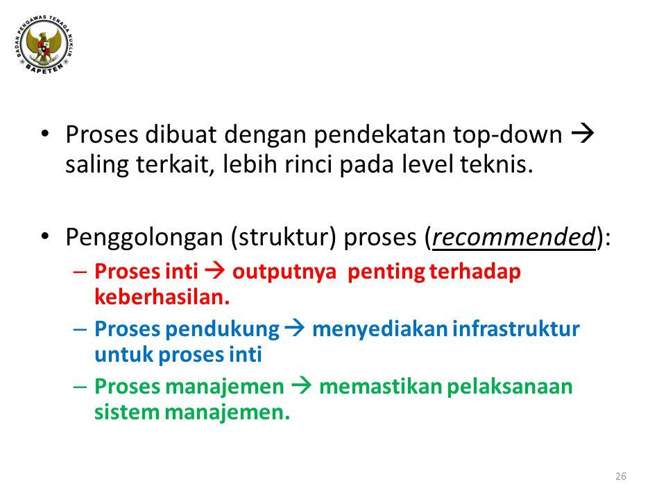 • Proses dibuat dengan pendekatan top-down  saling terkait, lebih rinci pada level teknis.