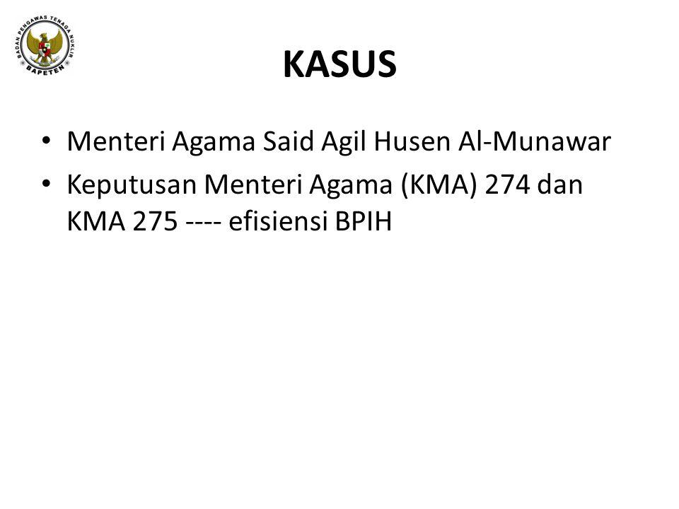 KASUS • Menteri Agama Said Agil Husen Al-Munawar • Keputusan Menteri Agama (KMA) 274 dan KMA 275 ---- efisiensi BPIH