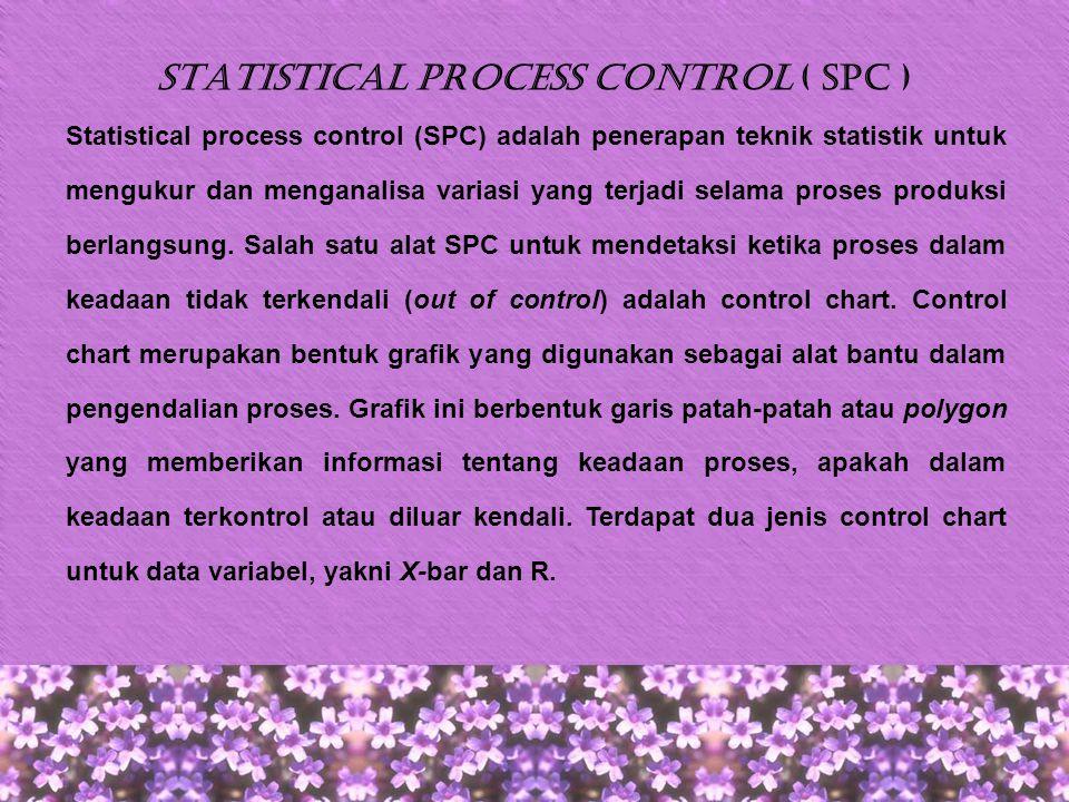 X-bar Chart Peta kontrol X-bar menjelaskan tentang apakah perubahan- perubahan telah terjadi dalam ukuran titik pusat atau rata- rata dari suatu proses.