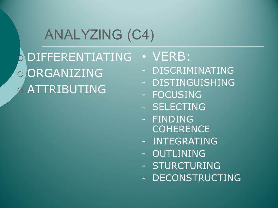ANALYZING (C4)  DIFFERENTIATING  ORGANIZING  ATTRIBUTING • VERB: -DISCRIMINATING -DISTINGUISHING -FOCUSING -SELECTING -FINDING COHERENCE -INTEGRATI