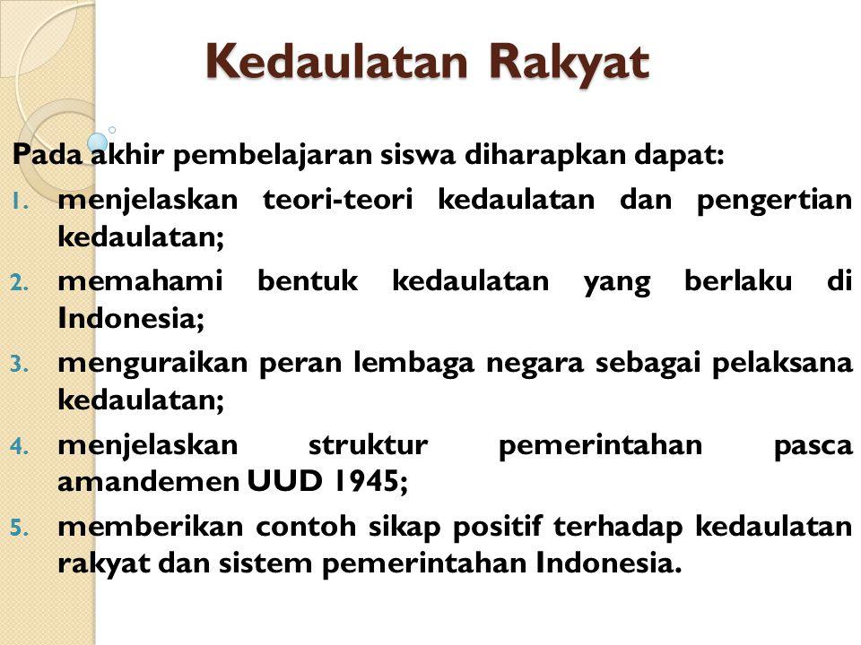 Kedaulatan Rakyat di Indonesia Indonesia menganut teori kedaulatan rakyat.