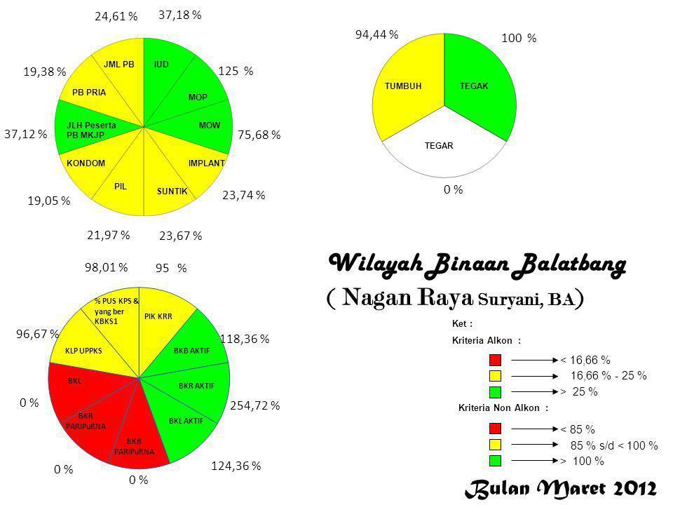 Bulan Maret 2012 < 16,66 % 16,66 % - 25 % > 25 % Ket : Kriteria Alkon : Kriteria Non Alkon : > 100 % 85 % s/d < 100 % < 85 % 37,18 % 125 % 75,68 % 23,