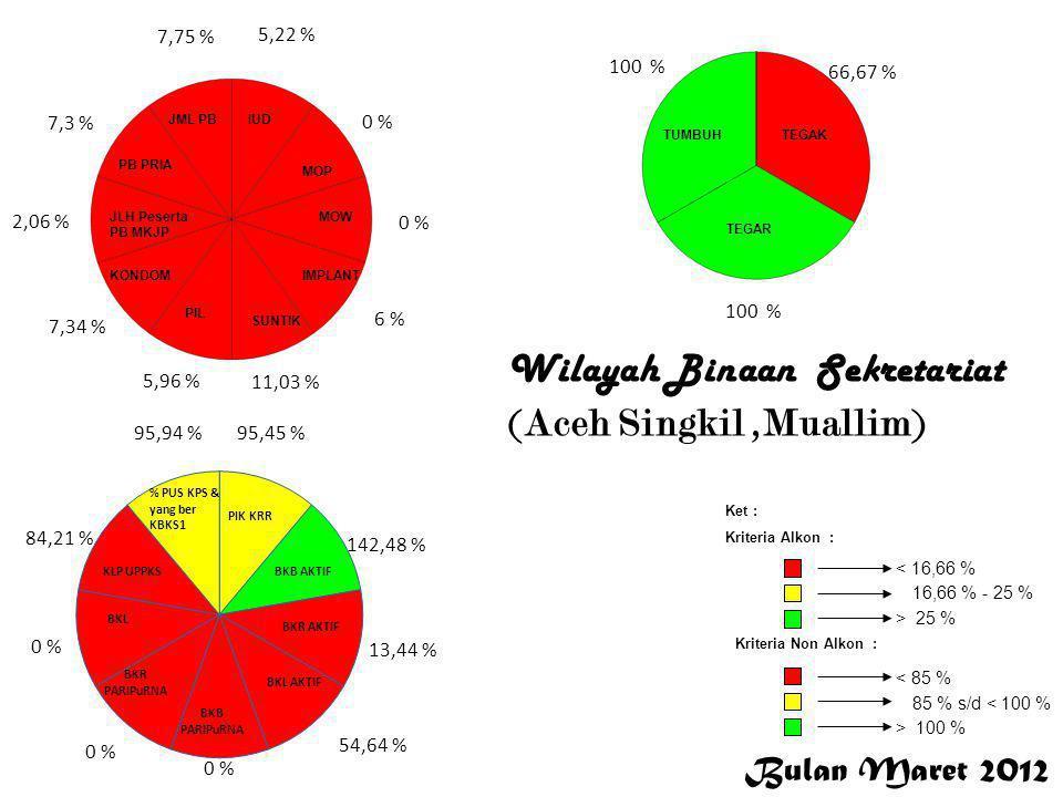 Bulan Maret 2012 < 16,66 % 16,66 % - 25 % > 25 % Ket : Kriteria Alkon : Kriteria Non Alkon : > 100 % 85 % s/d < 100 % < 85 % 58,97 %,0 % 80, % 38,89 % 35,57 % 14,25 % 13,28 % 48,85 % 13,26 % 23,78 % 94,44 % 97,22 % 88,49 % 176,23 % 0 % 95,83 % 93,97 % 100 % 50 % 0 % Aceh Jaya Wilayah Binaan KS-PK ( Aceh Jaya, Irma Dimyati, SE)