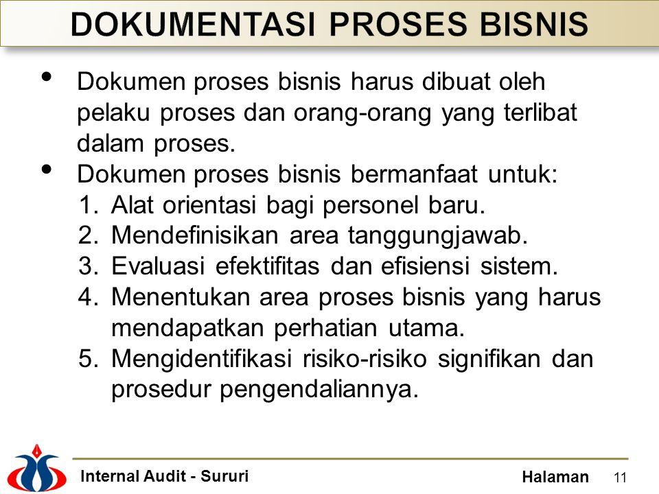 Internal Audit - Sururi Halaman • Dokumen proses bisnis harus dibuat oleh pelaku proses dan orang-orang yang terlibat dalam proses. • Dokumen proses b