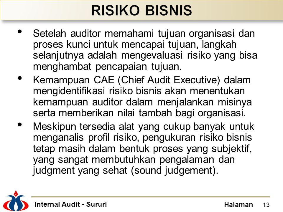 Internal Audit - Sururi Halaman • Setelah auditor memahami tujuan organisasi dan proses kunci untuk mencapai tujuan, langkah selanjutnya adalah mengev