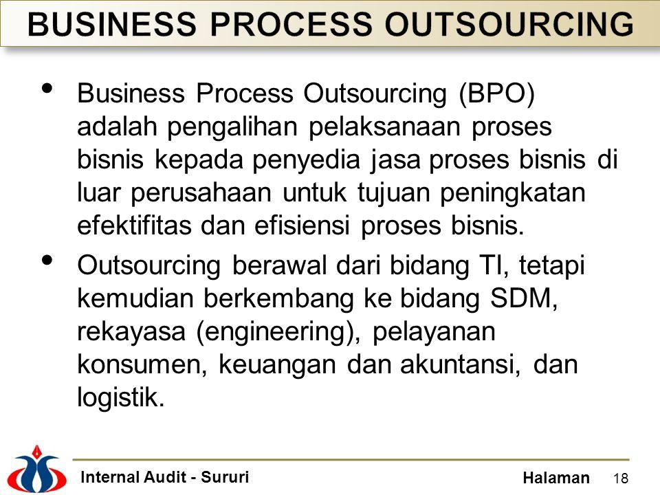 Internal Audit - Sururi Halaman • Business Process Outsourcing (BPO) adalah pengalihan pelaksanaan proses bisnis kepada penyedia jasa proses bisnis di