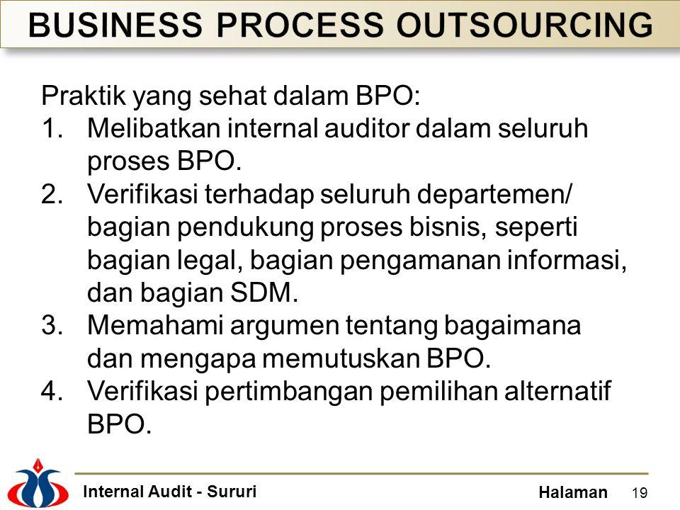 Internal Audit - Sururi Halaman Praktik yang sehat dalam BPO: 1.Melibatkan internal auditor dalam seluruh proses BPO. 2.Verifikasi terhadap seluruh de