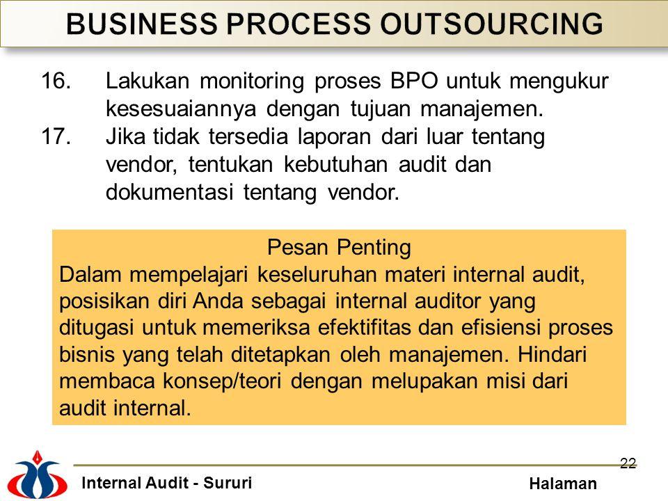 Internal Audit - Sururi Halaman 16.Lakukan monitoring proses BPO untuk mengukur kesesuaiannya dengan tujuan manajemen. 17.Jika tidak tersedia laporan