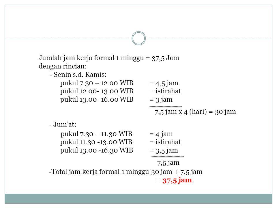 Jumlah jam kerja formal 1 minggu = 37,5 Jam dengan rincian: - Senin s.d. Kamis: pukul 7.30 – 12.00 WIB = 4,5 jam pukul 12.00- 13.00 WIB = istirahat pu