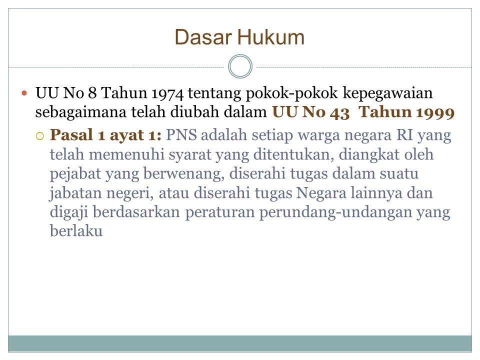 Dasar Hukum  UU No 8 Tahun 1974 tentang pokok-pokok kepegawaian sebagaimana telah diubah dalam UU No 43 Tahun 1999  Pasal 1 ayat 1: PNS adalah setia