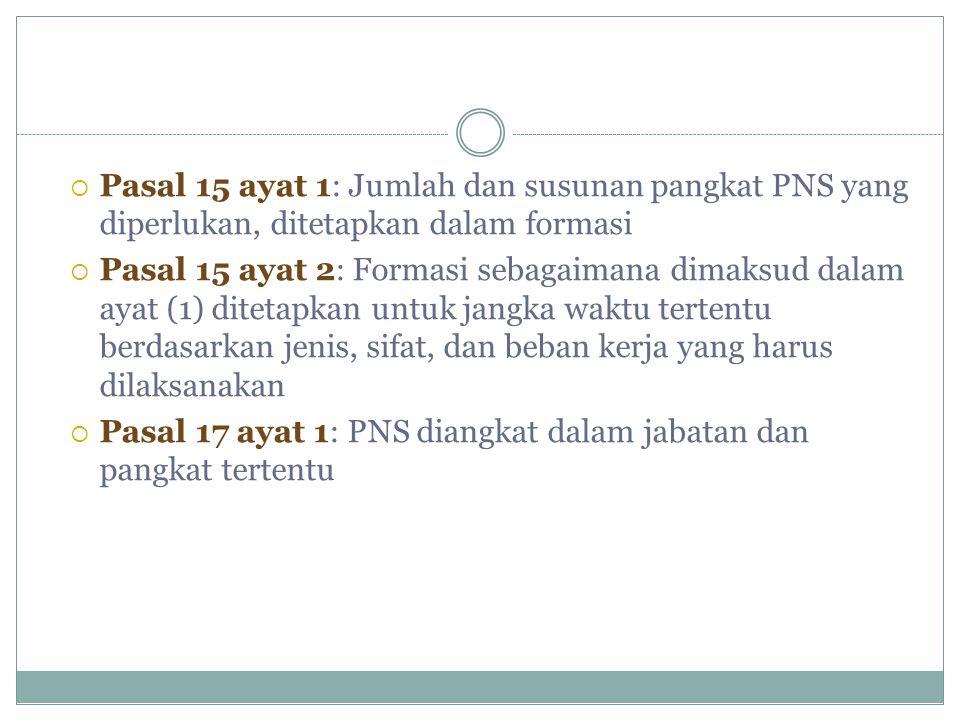  Pasal 15 ayat 1: Jumlah dan susunan pangkat PNS yang diperlukan, ditetapkan dalam formasi  Pasal 15 ayat 2: Formasi sebagaimana dimaksud dalam ayat