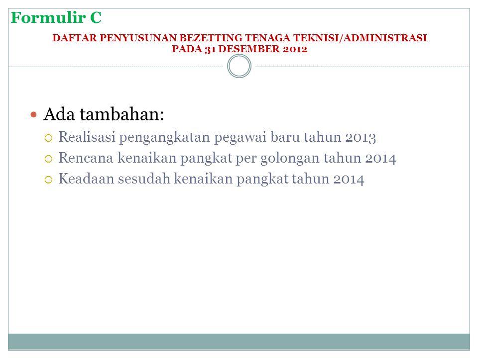 Formulir C DAFTAR PENYUSUNAN BEZETTING TENAGA TEKNISI/ADMINISTRASI PADA 31 DESEMBER 2012  Ada tambahan:  Realisasi pengangkatan pegawai baru tahun 2